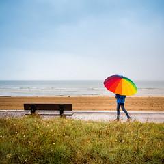 Rainy day (Zeeyolq Photography) Tags: walking beach france normandie rain raining umbrella weather hermanvillesurmer