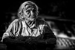 Nonverbal expressions (dalibor.papcun) Tags: portrait oldperson expression streetportrait bw human real oldage monochromat budapest wrinkles blackandwhite wheelchair nikon face life