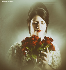 Vintage beauty (miroslav.tokarsky) Tags: pentax pentaxart tamron18200mm portrait vintage old victorian dress red roses flowers dreamy sleepy young sexy hot female model moody mood colors light studio magic moment smile thinking thoughtful
