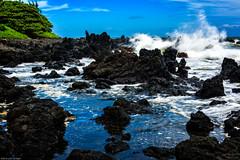 Waves Crashing on a Rugged Beach at Ke'anae Peninsula (jthight) Tags: pacificocean water hawaii nd09 nikond810 trees lavarock beach ocean rocks on1pics waves afzoom2470mmf28g maui sky seascape clouds coast lightroom keanaepeninsula unitedstates us
