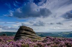 Late Summer Afternoon on the Moors (Peter Quinn1) Tags: heather moor moorland overowlertor hathersagemoor longshawestate derwentvalley peakdistrict summer summertime tor cloudscape