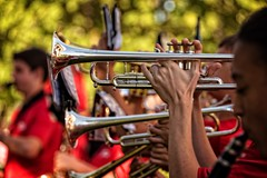 Trumpet (backbeatb00gie) Tags: 2016 beaverdaleparade desmoineseasthighmarchingscarlets band desmoines easthighschool fallparade horns marchingband outside practice trumpets warmup