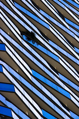Irregular Blue Glass Balconies (danliecheng) Tags: abstract architecture areas bacolny blue contemporary design exterior facets glass harmony highlight irregular light lines material modern parallel pattern plants reflection shadow
