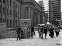 People (Jean S..) Tags: station toronto people street streetphoto candid building stone blackandwhite bw monochrome city urban crowd windows