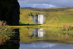 Skgafoss (h) Tags: skgafoss waterfall iceland landscape green reflection pond shadow september 2016