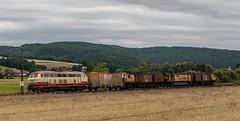 3193_2016_07_16_Haunetal_Neukirchen_DB_218_105_mit_Schweerbau_SBAU_9427_002_RG_48_II_Schienenschleifer_DGV_91542_Be (ruhrpott.sprinter) Tags: ruhrpott sprinter deutschland germany nrw ruhrgebiet gelsenkirchen lokomotive locomotives eisenbahn railroad zug train rail reisezug passenger gter cargo freight fret diesel ellok hessen haunetal boxxboxxpress db egp ell hhla hsl hvle lbllocon metrans mrcedispolokdispo bb railpoolrpool rbh rhc schweerbau sbbc txltxlogistik wienerlokalbahnencargo 143 145 152 182 185 193 218 270 428 650 1264 1266 421 es64u2 es64f4 greencargo ice r5 outdoor logo natur sonnenaufgang graffiti rinder