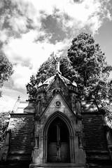 Spring Grove (Emily Kistler) Tags: america d750 midwest nikon ohio outdoors usa unitedstates ecemetery mausoleum robinsonmausoleum architecture cemetery bw blackandwhite sky clouds travel trees