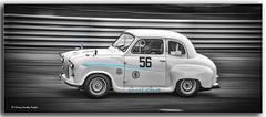 1956 Austin  A30  Rhea Sauter Andrew Newall (jdl1963) Tags: historic racing thruxton motorsport motor blackandwhite bw black white monochrome 1956 austin a30 rhea sauter andrew newall