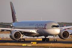 Qatar Airways -  A350-941, A7-ALH (Bernd 2011) Tags: qatarairways airbus a350 941 a350941 a359 a7alh fra eddf sunset taxiing