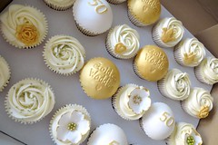 Vanilla Golden Wedding Anniversary Cupcakes (A Cherry On Top Scotland) Tags: cherryontop fife cupcakes celebratorycupcakes cakes celebratory vowswinner clairesara burntisland babyshower birthday corportate edibleprints spider goodbye wedding goldwedding