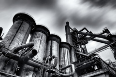 Quiet pride of the iron industry (Pavel Cervenka Photographer) Tags: architecture hdr urban industrial simple blackandwhite bw monochrome majesty clouds sky motion infrastructure abandon vintage old ostrava vitkovice ultra wide czech republic pavel cervenka 2470 art artistic steel