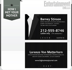 "EW s est amusé à imagé la carte de visite de Barney d <a href=""fiche-serie-tv-how-i-met-your-mother"" itemprop=""name"">How I Met Your Mother</a>"