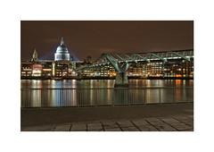 London - St Pauls and the Millennium Bridge, on the River Thames, London, England. (marcusrichphoto) Tags: bridge england london thames river lights cathedral tate stpauls millennium