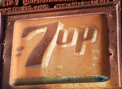 7-UP (tikitonite) Tags: old urban abandoned sign america vintage logo downtown steel rusty forgotten rusted signage americana aged roadside crusty 7up softdrink rustyandcrusty oxidized lemonlime