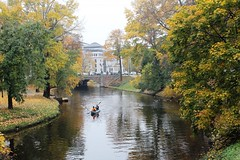 Another boat (Ievinya) Tags: autumn trees leaves boat canal leafs channel koki rudens laiva