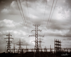 Untitled (Robert m Williams) Tags: ontario canada tower film clouds powerlines hydro etobicoke kodakprobw400cn kiplingpowerstation