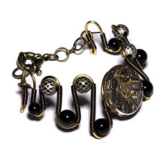 Steampunk Jewelry - Bracelet - Black Onyx and antique watch movement (Catherinette Rings Steampunk) Tags: fashion movement wire handmade watch jewelry jewellery bracelet etsy clockwork deviantart steampunk wirewrapped