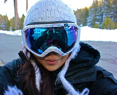 self-shot reflections (emilygabrielle) Tags: snow reflection self snowboarding 14 goggles tahoe quicksilver resort alpine beanie squaw liftticket valetinesday