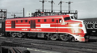 New Haven Railroad DER-1b DL-109 (The Cranberry) locomotive # 0722, is seen with a passenger train (most likely the actual