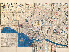 Ancient map of old japanese capital Edo Tokyo (Maxim Tupikov) Tags: road street old city travel kite art history texture japan vintage river painting paper asian japanese tokyo town artwork downtown place graphic state map guidance background traditional country nation landmark spot location lane cartography land target atlas historical metropolis samurai arrow geography spirituality avenue coordinates edo nipon topography locality