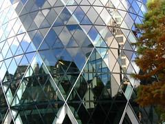 Gherkin Reflections (saxman1597) Tags: blue autumn england london fall beauty buildings reflections landscape gherkin london2012 lumixfz7
