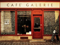 Caf... (_neb) Tags: old red house coffee caf architecture facade canon vintage catchycolors french austria mirror tirol gallery details letters galeria arts galerie front exhibition retro reddoor card script coffeehouse frontal effect catchycolor frenchstyle canonef1740mmf4lusm innsbruck housefront mirroring oldish scripts redfront canoneos550d