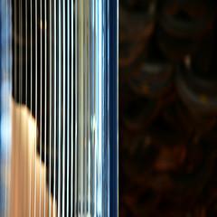ARTonART (SteffenTuck) Tags: blur art lines bokeh teal interior curtain goma screen brisbane plastic edge inside galleryofmodernart steffentuck
