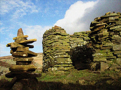 iron photographer 163 (Ron Layters) Tags: england clouds digital canon rocks mine unitedkingdom peakdistrict grain ruin stack utata digitalcamera quarry cairn highpeak roundbuilding axeedgemoor utatafeature ironphotographer ronlayters danebower canonixuswireless explosivestore danebowerquarry utata:project=ip163 ip163