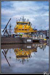 Ferry (ViTaRu) Tags: sea water colors yellow ferry canon reflections finland river evening ship waterfront turku harbour crane outdoor maintenance repairs aurajoki lr4 varsinaissuomi 35f14l 5dmk2 snapseed