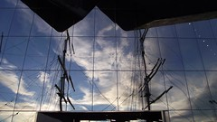 reflections at the Riverside Museum 01 (byronv2) Tags: reflection building museum architecture river scotland riverclyde clyde boat ship glasgow mast tallship rigging zahahadid glenlee riversidemuseum rnbclyde