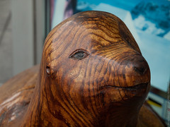 Sea Lion Wood Carving (color version) (citizenlouie) Tags: sanfrancisco california autumn portrait fall northerncalifornia closeup unitedstates olympus 8x10 rings seal handheld fishermanswharf cropped pier39 sealion sculptures nopostprocessing woodcarving 2012 10x8 sooc olympuse620 zuiko1260mmf284swd olympusviewer