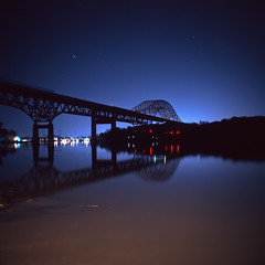(patrickjoust) Tags: county bridge usa color reflection 120 6x6 mamiya tlr film water night analog rural america river dark de lens town us reflex md focus long exposure glow fuji mechanical united release tripod north patrick twin maryland slide cable s grace chrome havre after medium format states tungsten manual expired joust fujichrome e6 balanced cecil 65 susquehanna estados f35 reversal unidos perryville 65mm tressle c330 sekor t64 autaut patrickjoust