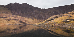 Days past (theloneman) Tags: uk orange lake mountains grass weather architecture reflections landscape outdoors golden countryside moss warm alone peaceful wideangle thinking snowdon vista lonely aged snowdonia viewpoint stillness 1740mm tranquil 1740 pondering relections uwa canon5dmkii 5dmkii