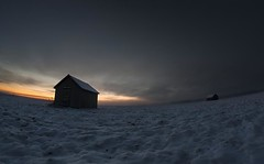 (ken@pi) Tags: sunset snow cold ice field barn canon finland dark mood barns plog lumi sn lada vaasa vasa ker lador lato pelto mrk ladot kallt sundom sderfjrden samyang8mm