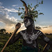 mursi tribe man with the body painting