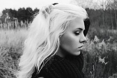 Rimma (everythingistrivial) Tags: autumn portrait blackandwhite bw girl beautiful pretty profile blond dust wooman blondine