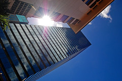 Prismatic (jcc55883) Tags: sky sun architecture buildings reflections hawaii nikon downtown oahu perspectives honolulu yabbadabbadoo bishopstreet d40 fortstreetmall nikond40 nberetania