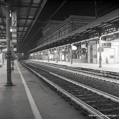 Train Station Modena (Gianluca Bertoncelli Photography) Tags: bw white black station rolleiflex train diy long 10 400 hp5 sl66 modena rodinal stazione ilford f28 develop treni 80mm