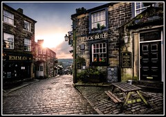 Black Bull, Haworth. Yorkshire. uk. (21stCenturyEden) Tags: sunrise canon gold golden glow yorkshire hill elements 5d moors cobbles hdr bronte lightroom haworth 1735mm calderdale westriding tonemapping brontesisters brontecountry branwellbronte keighly sigma1735mmhsm photoshopelements9