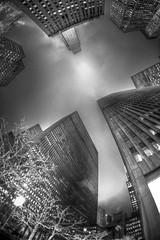 Heads Up (Tim Drivas) Tags: newyorkcity blackandwhite night skyscraper canon rockefellercenter midtown 15mm hdr 6thavenue avenueoftheamericas exxonbuilding west49thstreet