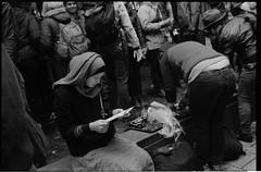 019-024-4 (Ari and the bear) Tags: street bw film analog montreal canona1 kentmere400 occuponsmontreal occupymontreal arianedepalacio