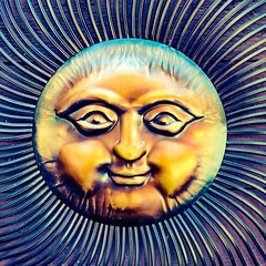 Mr. Sun (Thad Zajdowicz) Tags: decoration sun rays smile face eyes square 1x1 outdoor outside 366 365 cellphone photoshopexpress availablelight portrait surreal circle round zajdowicz descansogardens lacaadaflintridge california travel nose mouth lips cheeks