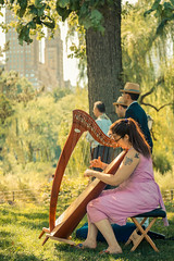 Soundtrack Park (Martn Marilungo) Tags: park newyorkcity travel parque trees people music usa newyork us arboles unitedstates outdoor centralpark manhattan streetphotography weding harp arpa casamiento estadosunidos playingmusic