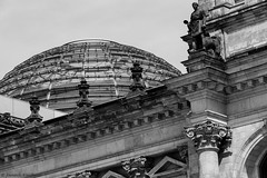 Contrast between the old and the new. (Jannik K) Tags: bw sw schwarz weis black white berlin reichstag architecture samsung nx1 perspective perspektive composition komposition old new kontrast contrast germany deutschland hauptstadt capital city stadt dach roof kuppel glas