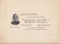 Title Page of a 1900 production of Ben Hur (mharrsch) Tags: benhur play presentation lewwallace production novel souvenirbooklet publicdomain 1900 mharrsch