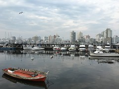 Punta del Este, Uruguay (MJR96) Tags: uruguay sa america southamerica south atlantic latin latino americano beautiful beach water oceanic ocean condos boat ship harbour harbor red bird clouds buoy sea gull