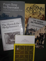 25th August 2016 (themostinept) Tags: presents books cd trinket charm concertina silver momus pubicintellectual rosemacaulay theworldmywilderness frombowtobiennaleartistsoftheeastlondongroup davidbuckman bobdobson concerningclogs paperbacks music dvd film moon sledgehammer2 philiptrevelyan