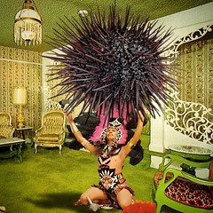 The black urchin of eternal  sadness (Flamenco Sun) Tags: incantation ceremony aztec inca retro kitschy kitsch insomnia blackness despair black urchin