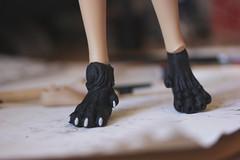 Roxane (?) - WIP (Agathe') Tags: joy kid iplehouse customization custom ooak fimo miliput milliput real skin black paw patte handmade bjd doll poupe chimere loup wolf