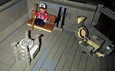 Abe in Gunnery Room (wilfordandmalia) Tags: space spaceship knife gun custom hat moc lego